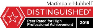 Martindale Hubbell DISTINGUISHED Peer Rated for High Professional Achievement 2018